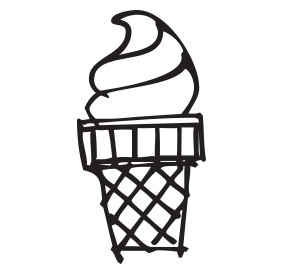 Ice cream swirl self-inking rubber stamp available in your choice of 4 sizes and 11 ink colors. Refillable with Ideal ink. Orders over $45 get free shipping.