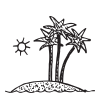 Palm tree on an island self-inking rubber stamp available in your choice of 4 sizes and 11 ink colors. Refillable with Ideal ink. Orders over $45 ship free.