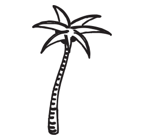Palm tree self-inking rubber stamp available in your choice of 4 sizes and 11 ink colors. Clear impressions. Reink with Ideal ink. Orders over $45 ship free.