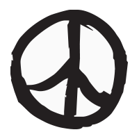 Brush stroke peace sign self-inking rubber stamp available in your choice of 4 sizes and 11 ink colors. Refillable with Ideal ink. Orders over $25 ship free.