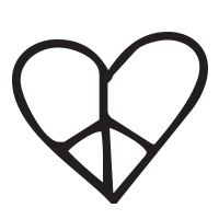 Heart peace sign self-inking rubber stamp available in your choice of 4 sizes and  11 ink colors. Refillable with Ideal ink. Online orders over $45 ship free.