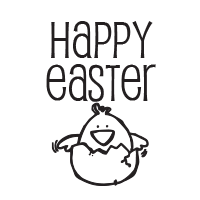 Happy Easter chickadee self-inking rubber stamp available in your choice of 4 sizes and 11 ink colors. Refillable with Ideal ink. Orders over $25 ship free.