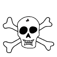 Skull with large crossbones self-inking rubber stamp available in your choice of 4 sizes and 11 ink colors. Refillable with Ideal ink. Orders over $25 ship free.