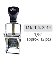 """This Comet self-inking line dater stamp has a character size of 1/8"""", comes in many ink color options, and has upgradable components. Orders over $45 ship free!"""