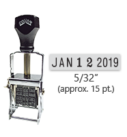 """This Comet self-inking line dater stamp has a character size of 5/32"""", comes in many ink color options, and has upgradable components. Orders over $45 ship free!"""