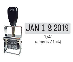 """This Comet self-inking line dater stamp has a character size of 1/4"""", comes in many ink color options, and has upgradable components. Orders over $45 ship free!"""
