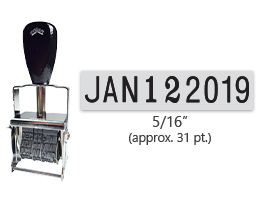 """This Comet self-inking line dater stamp has a character size of 5/16"""", comes in many ink color options, and has upgradable components. Orders over $45 ship free!"""