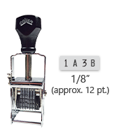 """This 4 band custom Comet self-inking alphanumeric stamp has a character size of 1/8"""" and comes in 11 stunning ink color options. Orders over $45 ship free!"""