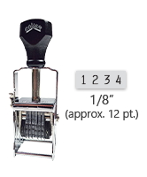 """This 4 band Comet self-inking numbering stamp has a character size of 1/8"""" and comes in 11 stunning ink color options. Orders over $45 ship free!"""