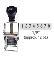 """This 8 band Comet self-inking numbering stamp has a character size of 1/8"""" and comes in 11 stunning ink color options. Orders over $45 ship free!"""
