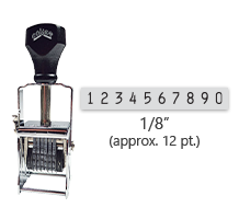 """This 10 band Comet self-inking numbering stamp has a character size of 1/8"""" and comes in 11 stunning ink color options. Orders over $45 ship free!"""