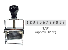"""This 12 band Comet self-inking numbering stamp has a character size of 1/8"""" and comes in 11 stunning ink color options. Orders over $45 ship free!"""