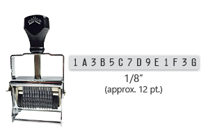 """This 14 band custom Comet self-inking alphanumeric stamp has a character size of 1/8"""" and comes in 11 stunning ink color options. Orders over $45 ship free!"""