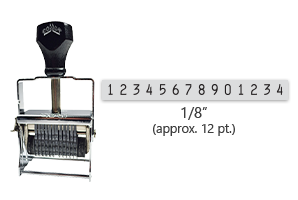 """This 14 band Comet self-inking numbering stamp has a character size of 1/8"""" and comes in 11 stunning ink color options. Orders over $45 ship free!"""