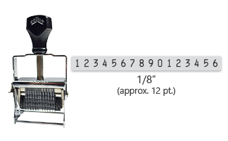 """This 16 band Comet self-inking numbering stamp has a character size of 1/8"""" and comes in 11 stunning ink color options. Orders over $45 ship free!"""