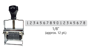 """This 18 band Comet self-inking numbering stamp has a character size of 1/8"""" and comes in 11 stunning ink color options. Orders over $45 ship free!"""