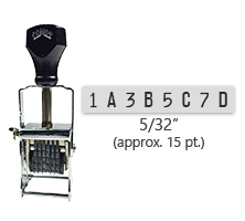 """This 8 band custom Comet self-inking alphanumeric stamp has a character size of 5/32"""" and comes in 11 stunning ink color options. Orders over $45 ship free!"""