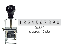 """This 10 band Comet self-inking numbering stamp has a character size of 5/32"""" and comes in 11 stunning ink color options. Orders over $45 ship free!"""
