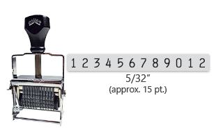 """This 12 band Comet self-inking numbering stamp has a character size of 5/32"""" and comes in 11 stunning ink color options. Orders over $45 ship free!"""