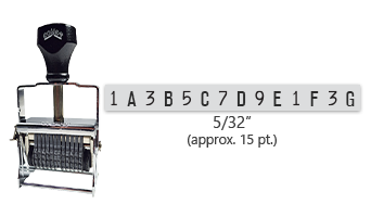 """This 14 band custom Comet self-inking alphanumeric stamp has a character size of 5/32"""" and comes in 11 stunning ink color options. Orders over $45 ship free!"""
