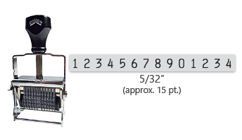 """This 14 band Comet self-inking numbering stamp has a character size of 5/32"""" and comes in 11 stunning ink color options. Orders over $45 ship free!"""