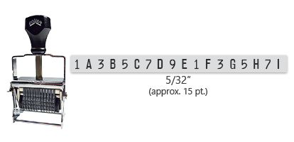 """This 18 band custom Comet self-inking alphanumeric stamp has a character size of 5/32"""" and comes in 11 stunning ink color options. Orders over $45 ship free!"""