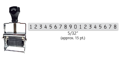 """This 18 band Comet self-inking numbering stamp has a character size of 5/32"""" and comes in 11 stunning ink color options. Orders over $45 ship free!"""