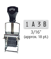 """This 4 band custom Comet self-inking alphanumeric stamp has a character size of 3/16"""" and comes in 11 stunning ink color options. Orders over $45 ship free!"""