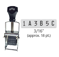 """This 6 band custom Comet self-inking alphanumeric stamp has a character size of 3/16"""" and comes in 11 stunning ink color options. Orders over $45 ship free!"""