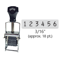 """This 6 band Comet self-inking numbering stamp has a character size of 3/16"""" and comes in 11 stunning ink color options. Orders over $45 ship free!"""