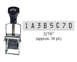 """This 8 band custom Comet self-inking alphanumeric stamp has a character size of 3/16"""" and comes in 11 stunning ink color options. Orders over $45 ship free!"""
