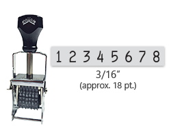 """This 8 band Comet self-inking numbering stamp has a character size of 3/16"""" and comes in 11 stunning ink color options. Orders over $45 ship free!"""