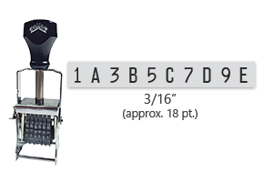 """This 10 band custom Comet self-inking alphanumeric stamp has a character size of 3/16"""" and comes in 11 stunning ink color options. Orders over $45 ship free!"""