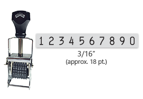 """This 10 band Comet self-inking numbering stamp has a character size of 3/16"""" and comes in 11 stunning ink color options. Orders over $45 ship free!"""