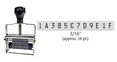 """This 12 band custom Comet self-inking alphanumeric stamp has a character size of 3/16"""" and comes in 11 stunning ink color options. Orders over $45 ship free!"""