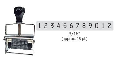 """This 12 band Comet self-inking numbering stamp has a character size of 3/16"""" and comes in 11 stunning ink color options. Orders over $45 ship free!"""