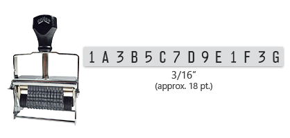 """This 14 band custom Comet self-inking alphanumeric stamp has a character size of 3/16"""" and comes in 11 stunning ink color options. Orders over $45 ship free!"""