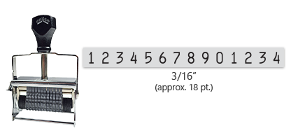 """This 14 band Comet self-inking numbering stamp has a character size of 3/16"""" and comes in 11 stunning ink color options. Orders over $45 ship free!"""