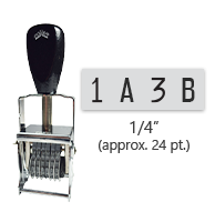 """This 4 band custom Comet self-inking alphanumeric stamp has a character size of 1/4"""" and comes in 11 stunning ink color options. Orders over $45 ship free!"""