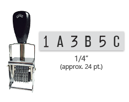 """This 6 band custom Comet self-inking alphanumeric stamp has a character size of 1/4"""" and comes in 11 stunning ink color options. Orders over $45 ship free!"""