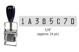 """This 8 band custom Comet self-inking alphanumeric stamp has a character size of 1/4"""" and comes in 11 stunning ink color options. Orders over $45 ship free!"""