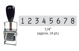 """This 8 band Comet self-inking numbering stamp has a character size of 1/4"""" and comes in 11 stunning ink color options. Orders over $45 ship free!"""