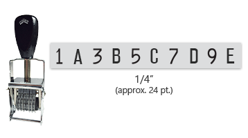"""This 10 band custom Comet self-inking alphanumeric stamp has a character size of 1/4"""" and comes in 11 stunning ink color options. Orders over $45 ship free!"""