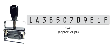 """This 12 band custom Comet self-inking alphanumeric stamp has a character size of 1/4"""" and comes in 11 stunning ink color options. Orders over $45 ship free!"""