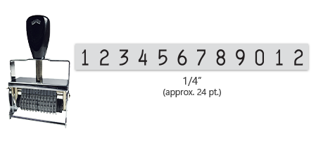 """This 12 band Comet self-inking numbering stamp has a character size of 1/4"""" and comes in 11 stunning ink color options. Orders over $45 ship free!"""