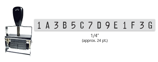 """This 14 band custom Comet self-inking alphanumeric stamp has a character size of 1/4"""" and comes in 11 stunning ink color options. Orders over $45 ship free!"""