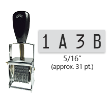 """This 4 band custom Comet self-inking alphanumeric stamp has a character size of 5/16"""" and comes in 11 stunning ink color options. Orders over $45 ship free!"""