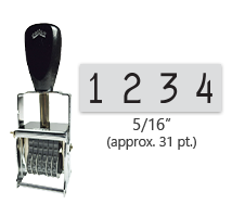 """This 4 band Comet self-inking numbering stamp has a character size of 5/16"""" and comes in 11 stunning ink color options. Orders over $45 ship free!"""