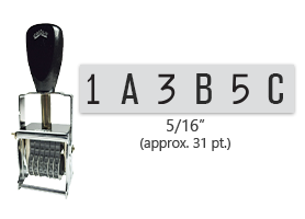 """This 6 band custom Comet self-inking alphanumeric stamp has a character size of 5/16"""" and comes in 11 stunning ink color options. Orders over $45 ship free!"""