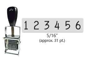 """This 6 band Comet self-inking numbering stamp has a character size of 5/16"""" and comes in 11 stunning ink color options. Orders over $45 ship free!"""